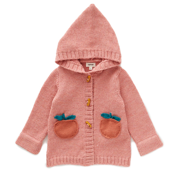 Girls Pink Hooded Alpaca Coat