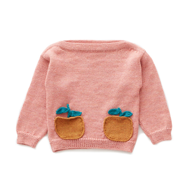 Girls Pink Pocket Alpaca Sweater