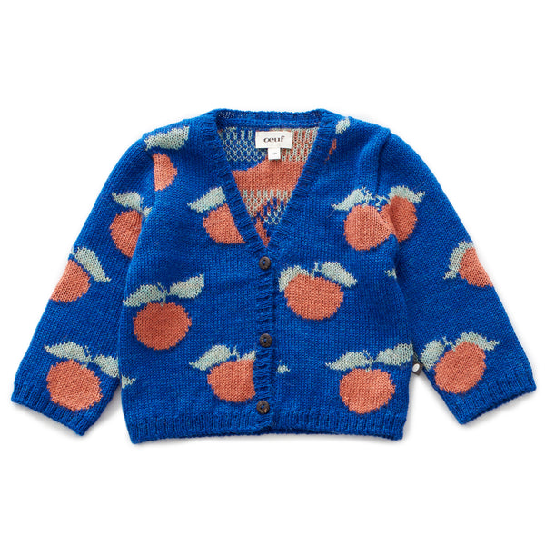 Girls Blue Pattern Alpaca Cardigan