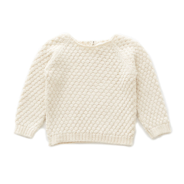 Girls White Stitch Alpaca Sweater