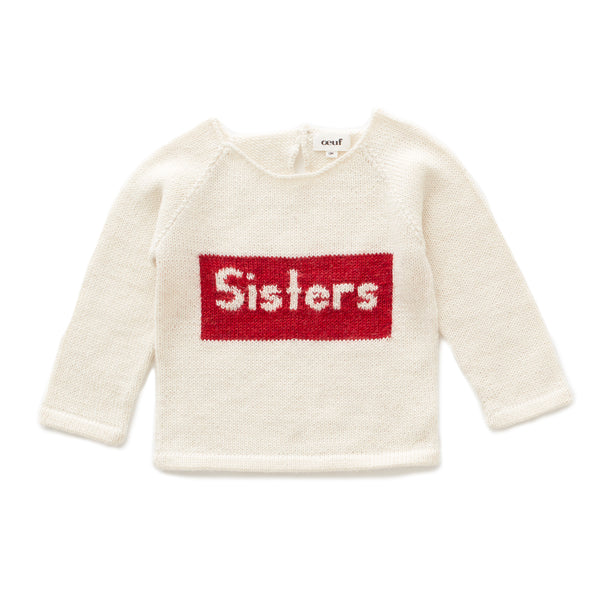Girls White Sisters Alpaca Sweater