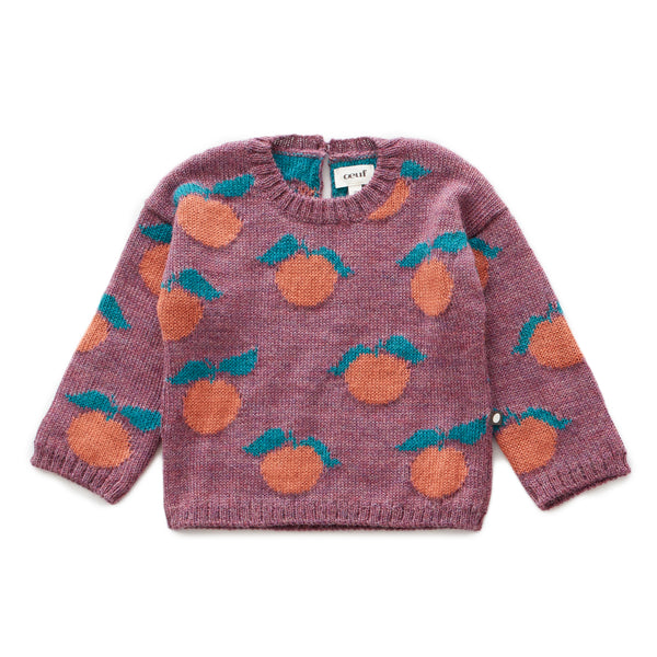 Girls Mauve Pattern Alpaca Sweater