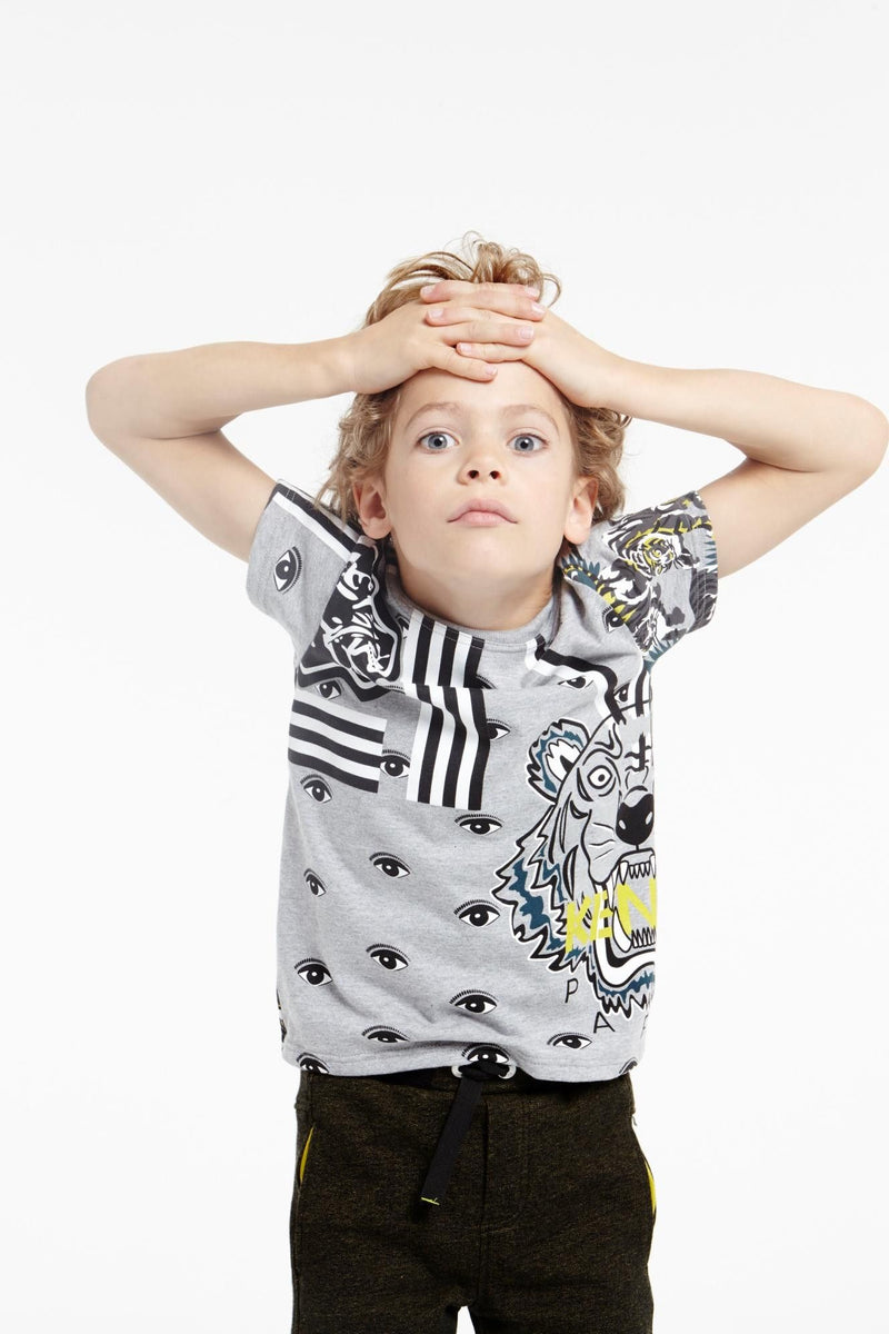 Boys White&Navy Blue Multi-Icones Printed Cotton T-Shirt - CÉMAROSE | Children's Fashion Store - 2