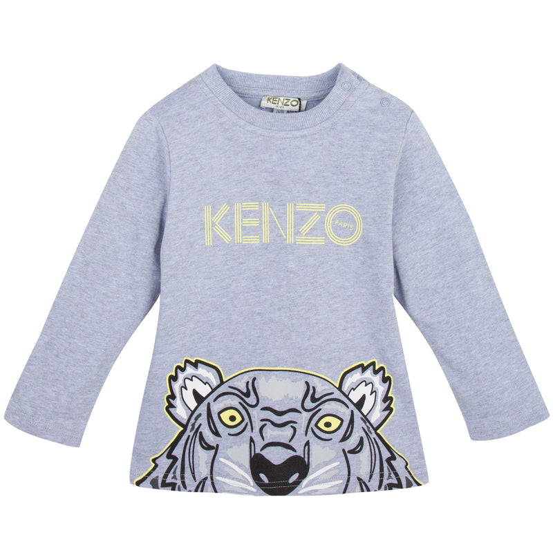 Baby Grey Cotton Jersey T-Shirt With Peeking Tiger - CÉMAROSE | Children's Fashion Store - 1