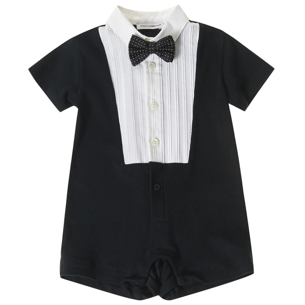 Baby Boys Black Bow Trims Cotton Short Babygrow