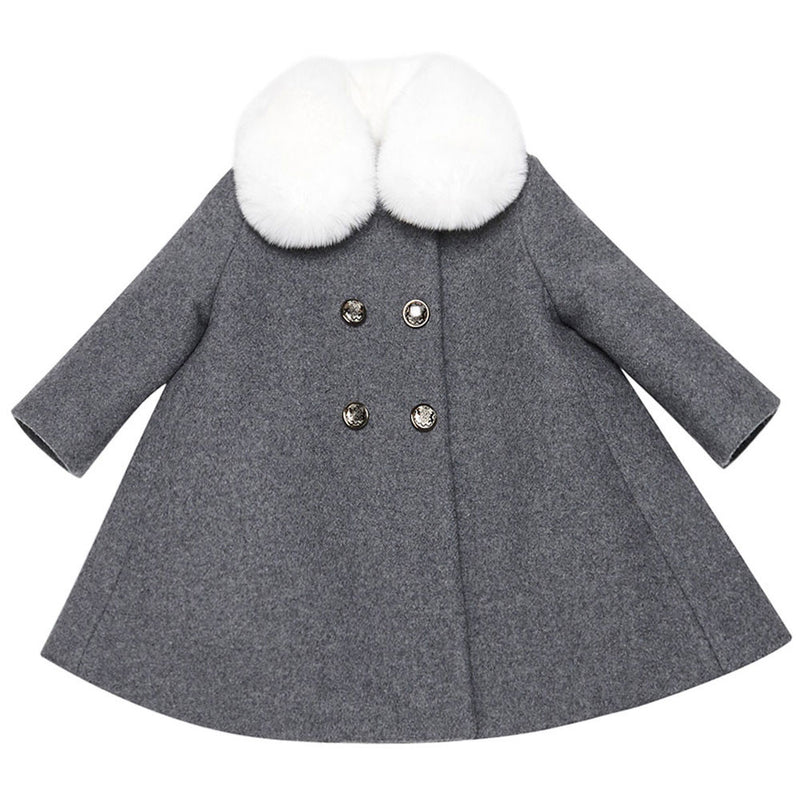 Baby  Girls  Grey  Wool & Cashmere  Coat