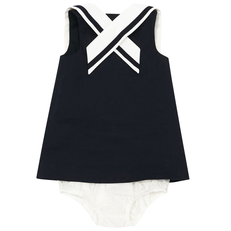 Baby Girls Navy Blue Sailor Dress with Collar