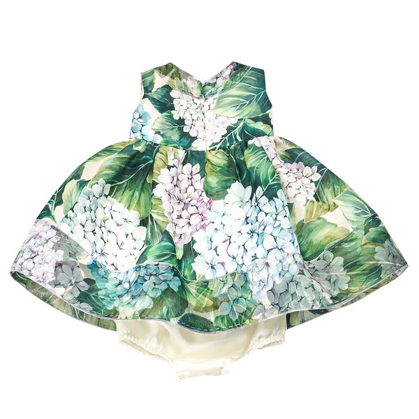 Baby Girls Green 'Ortensia' Silk Dress