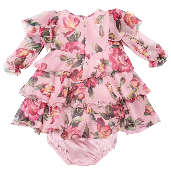 Baby Girls Flower-Printed Silk Dress