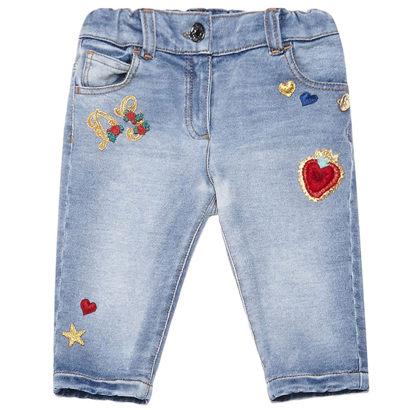 Baby  Girls  Blue Embroidered Jeans