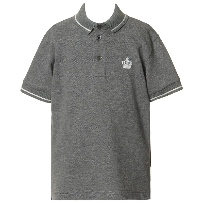 Boys Grey Crown Logo Polo Shirt