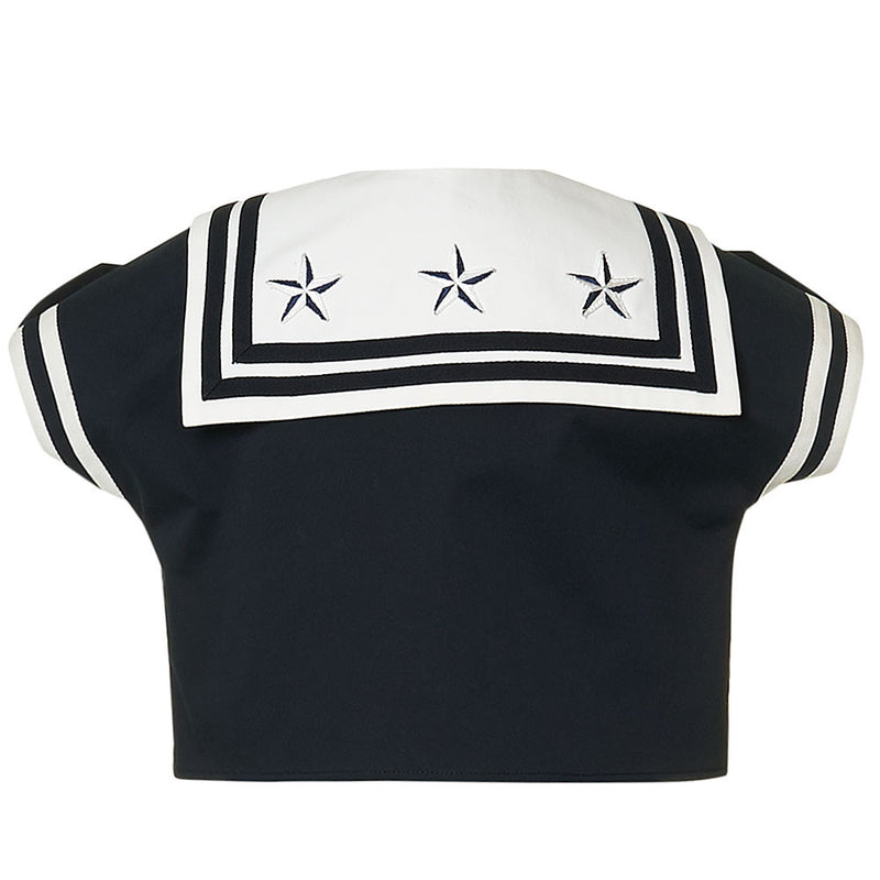 Girls Navy Blue Sailor Blouse with Collar