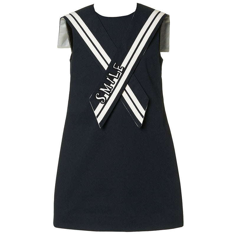 Girls Navy Blue Sailor Dress with Collar