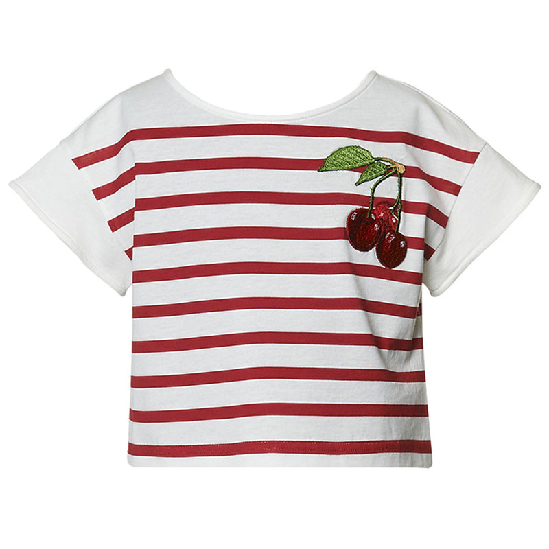 Girls Striped Red Top with Cherry