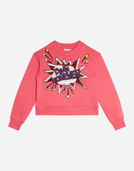 Girls Dark Pill Rose Cotton Sweatshirt