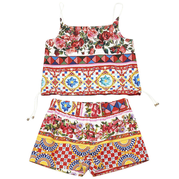 Girls Red Flower Printed Trims Top & Short Set - CÉMAROSE | Children's Fashion Store - 1