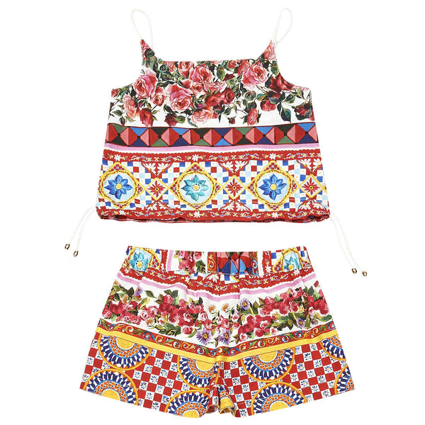 Girls Red Flower Printed Trims Top & Short Set - CÉMAROSE | Children's Fashion Store - 2