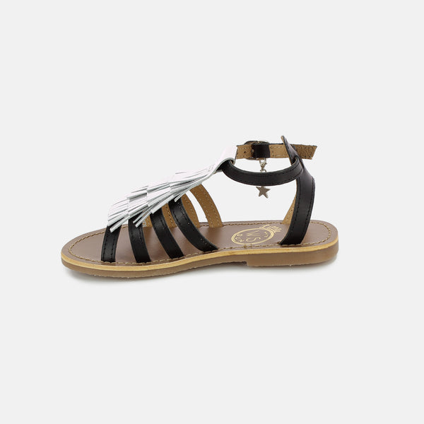Girls Black & Silver Leather Sandals