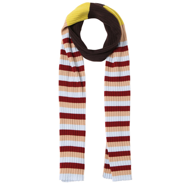 Girls Dark Brown Striped Wool Scarf