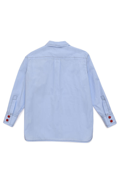 Girls Light Blue Cotton Shirt
