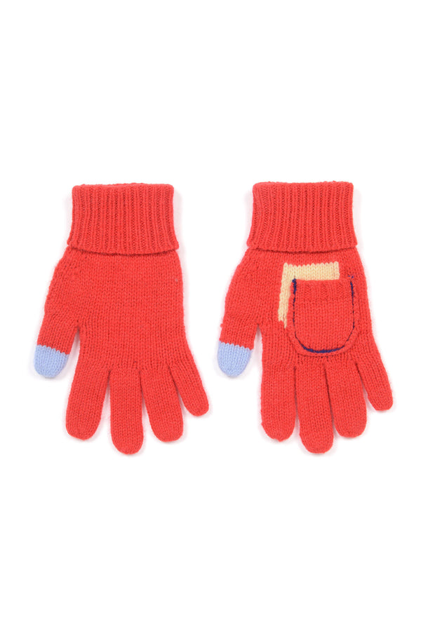 Girls Bright Red Wool Gloves