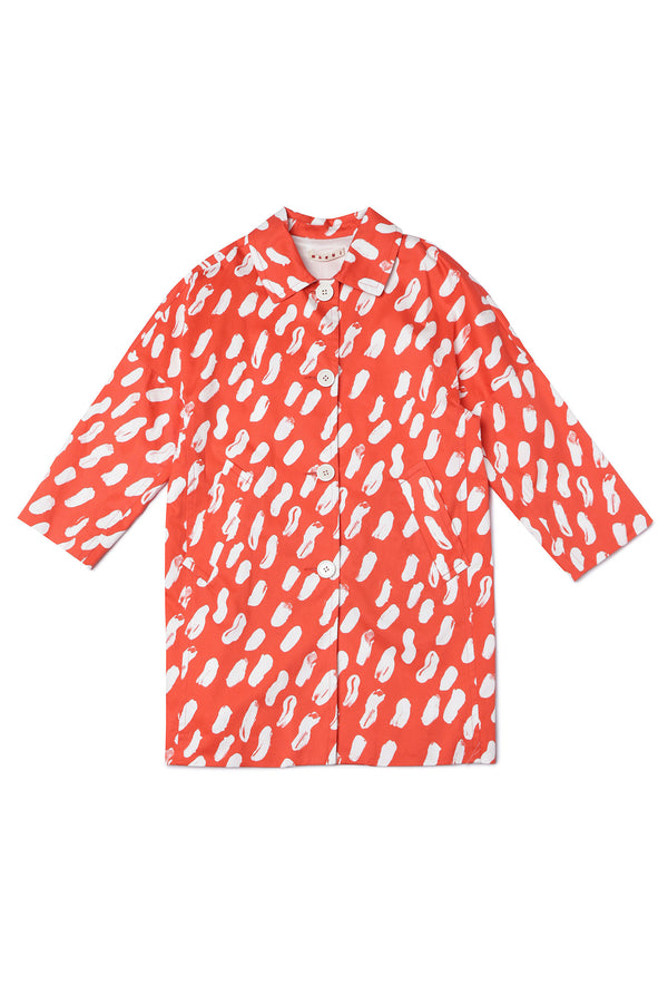 Girls Orange Red Cotton Coat