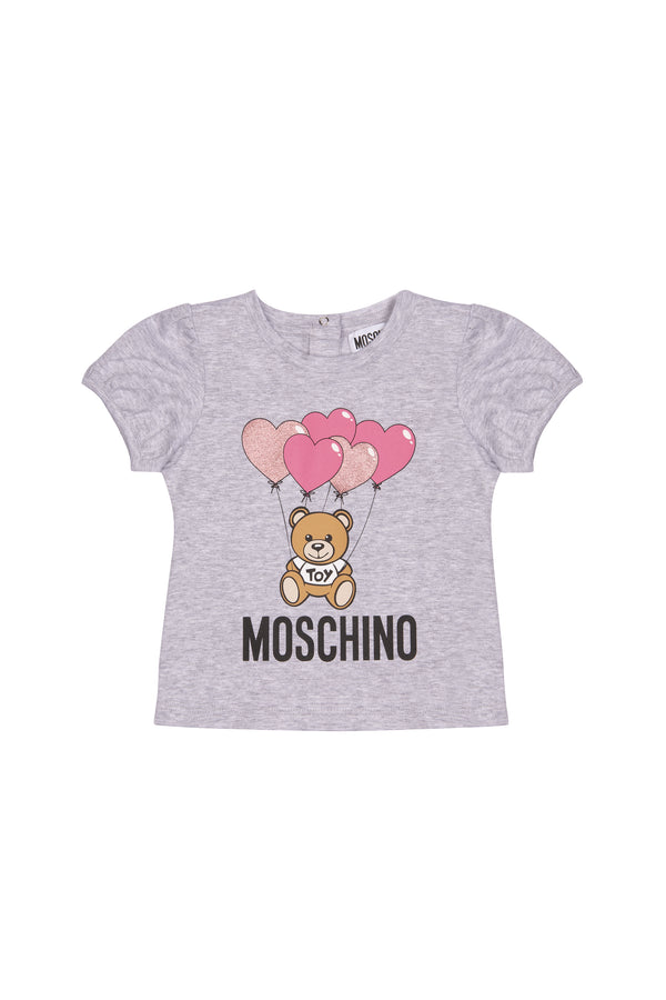 Baby Girls Grey Logo Cotton T-shirt