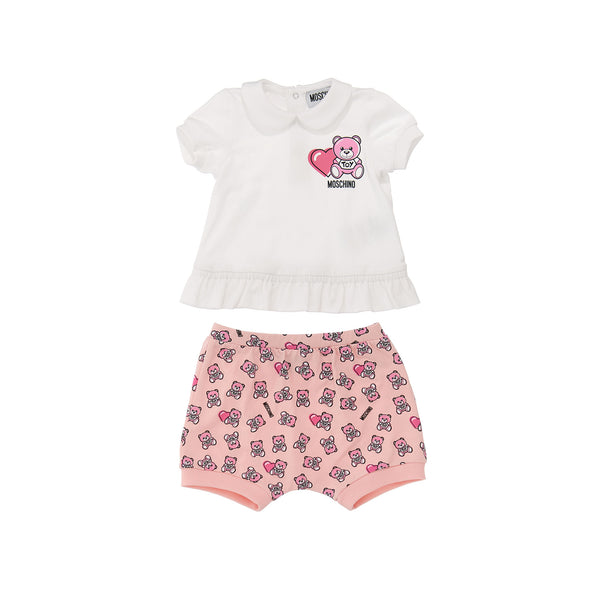 Baby Girls White & Pink Cotton Set
