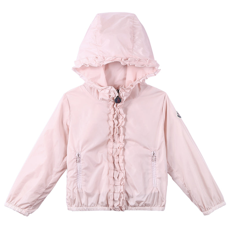 Baby Girls Bright Pink Frilly Hooded 'Darma' Zip-Up Tops - CÉMAROSE | Children's Fashion Store - 1