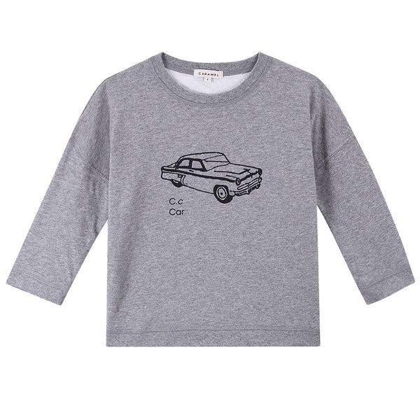 Boys Dark Grey Car Printed Cotton T-Shirt - CÉMAROSE | Children's Fashion Store - 1