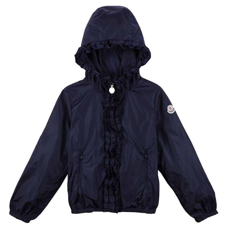 Girls Navy Blue Frilly Hooded 'Darma' Zip-Up Tops - CÉMAROSE | Children's Fashion Store - 1
