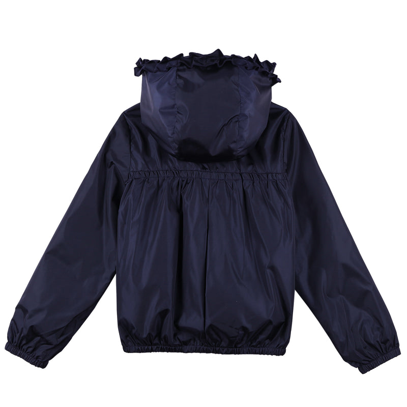 Girls Navy Blue Frilly Hooded 'Darma' Zip-Up Tops - CÉMAROSE | Children's Fashion Store - 2