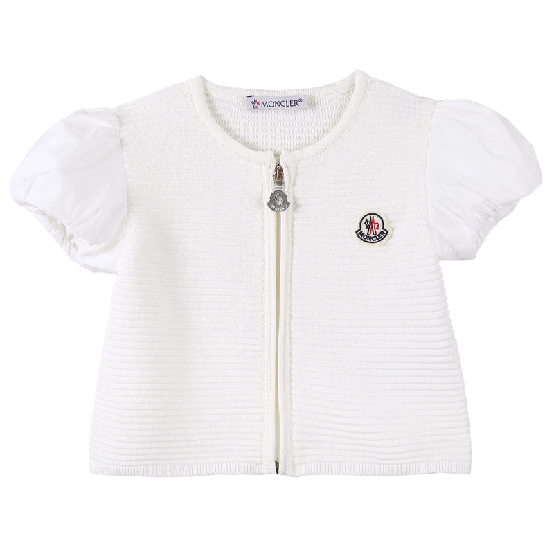 Baby Girls White Striped Knitted Sleeveless Cardigan - CÉMAROSE | Children's Fashion Store - 1