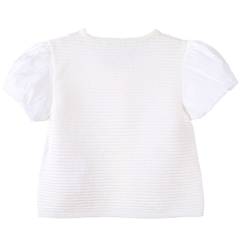 Baby Girls White Striped Knitted Sleeveless Cardigan - CÉMAROSE | Children's Fashion Store - 2