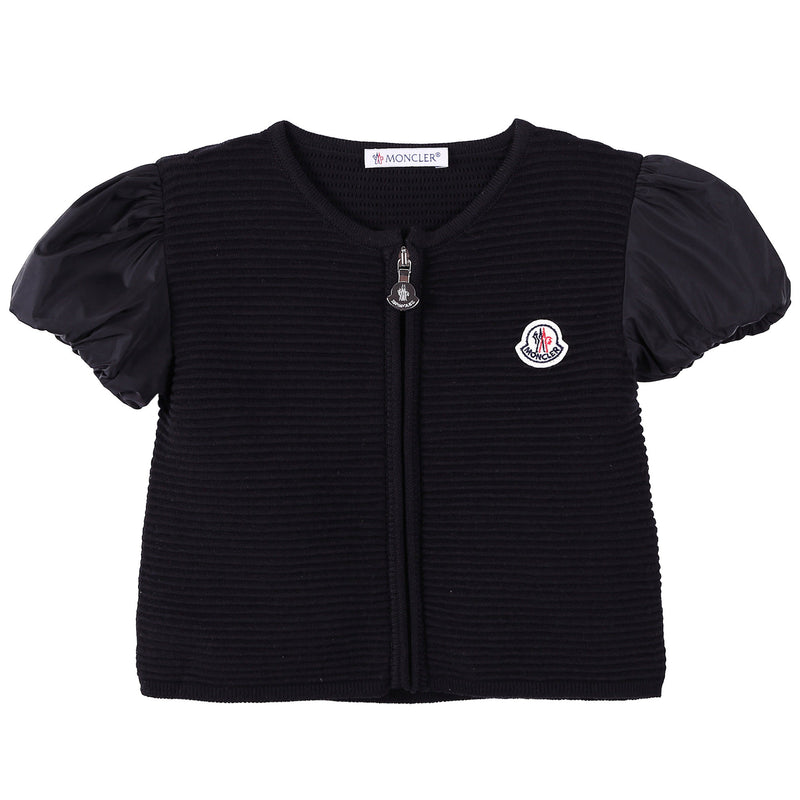 Girls Black Striped Knitted Sleeveless Cardigan - CÉMAROSE | Children's Fashion Store - 1