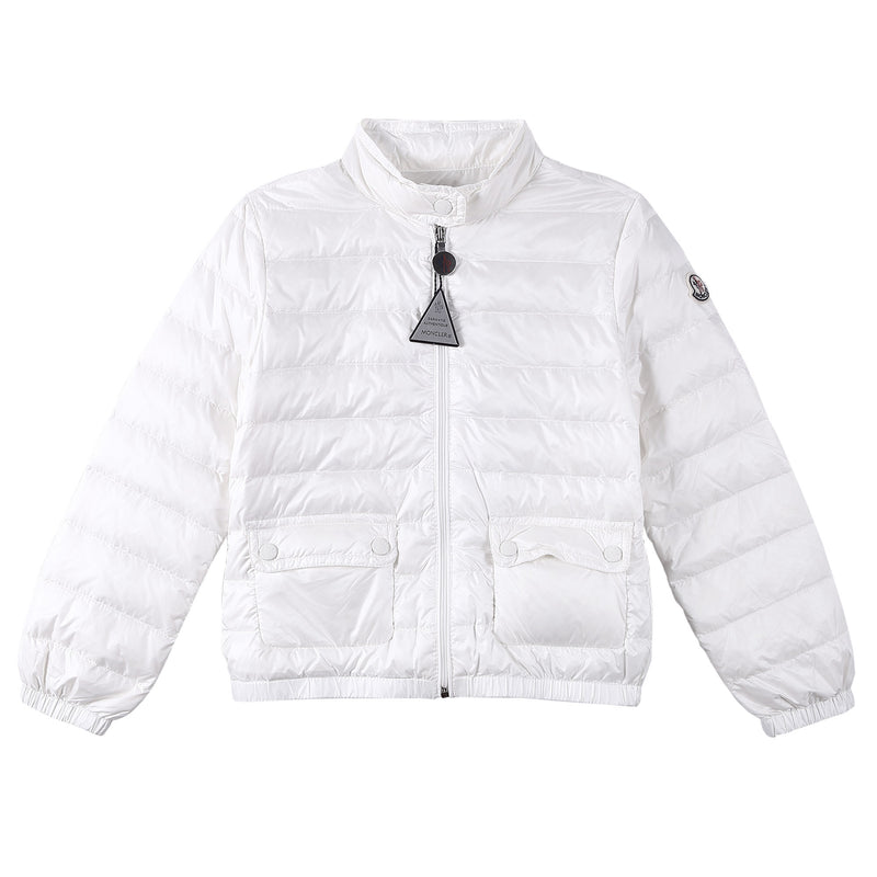 Girls White Down Padded 'Lans' Jacket With Patch Pocket - CÉMAROSE | Children's Fashion Store - 1
