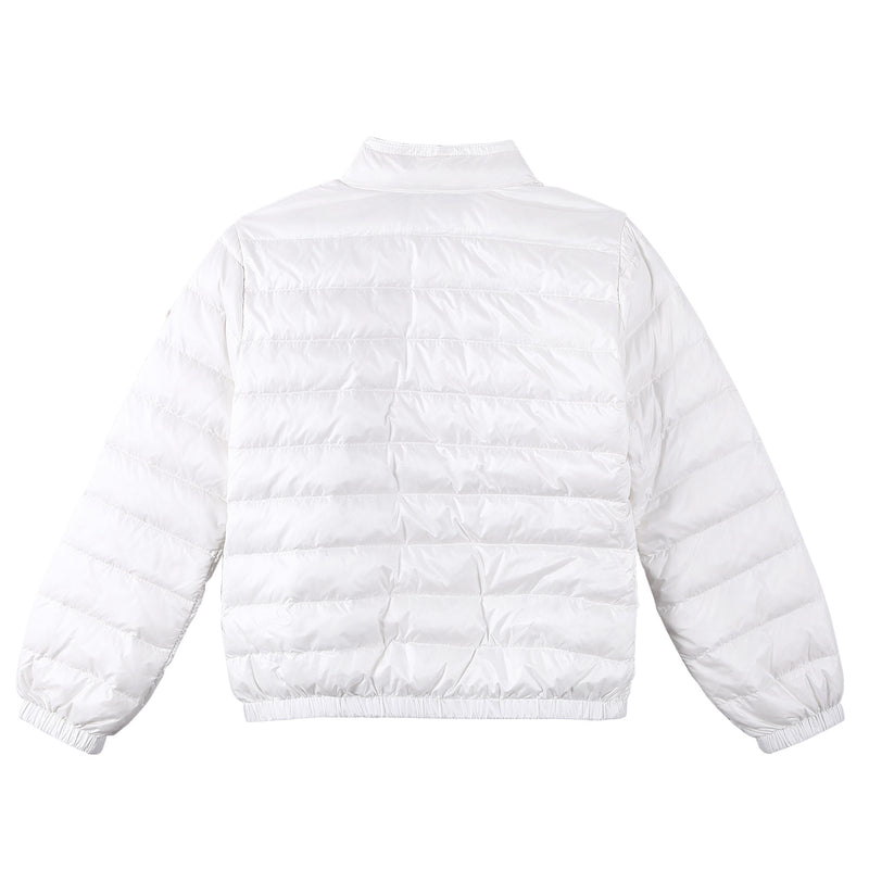Girls White Down Padded 'Lans' Jacket With Patch Pocket - CÉMAROSE | Children's Fashion Store - 2