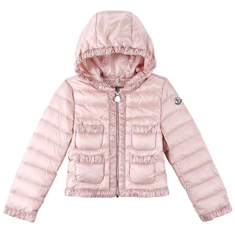 Baby Girls Pink Down Padded 'Flavienne' Jacket With Frilly Cuffs - CÉMAROSE | Children's Fashion Store - 1