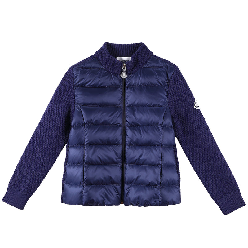 Boys Navy Blue Down Padded Knitted Jackets - CÉMAROSE | Children's Fashion Store - 1