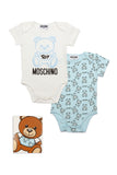 Baby Boys White & Blue Logo Cotton Set (2 Pieces)