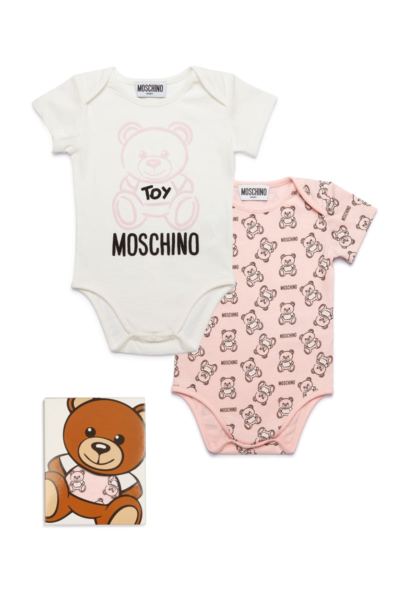 Baby Girls White & Pink Logo Cotton Set (2 Pieces)