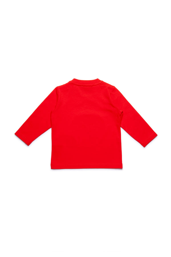Baby Girls Red Logo Long Sleeves Cotton T-shirt