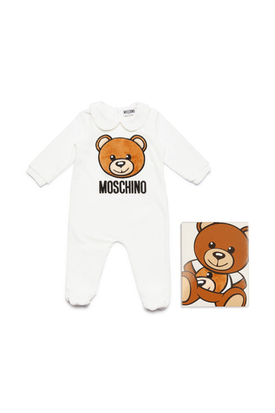 Baby Boys & Girls White Logo Cotton Jumpsuit