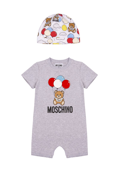 Baby Boys Grey Cotton Babysuit Set