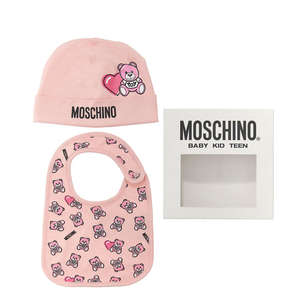 Baby Girls Pink Cotton Hat & Bib Set