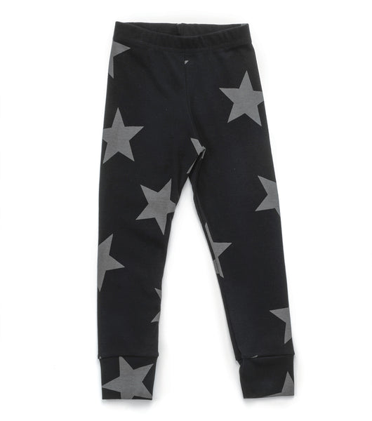 Baby Girls Black Star Cotton Leggings