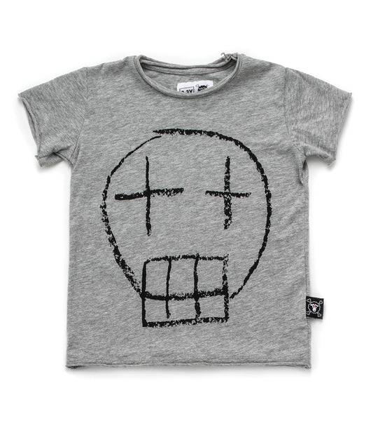 Baby Boys Grey Skull Cotton T-shirt