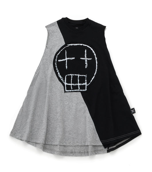 Baby Girls Black & Grey Sketch Skull Dress