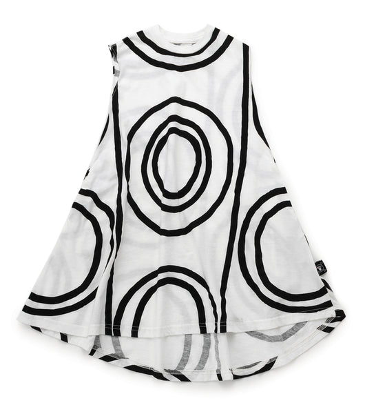 Girls White Light Circle Cotton Dress