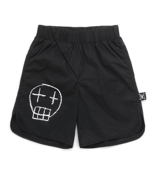 Boys Black Skull Surf Shorts